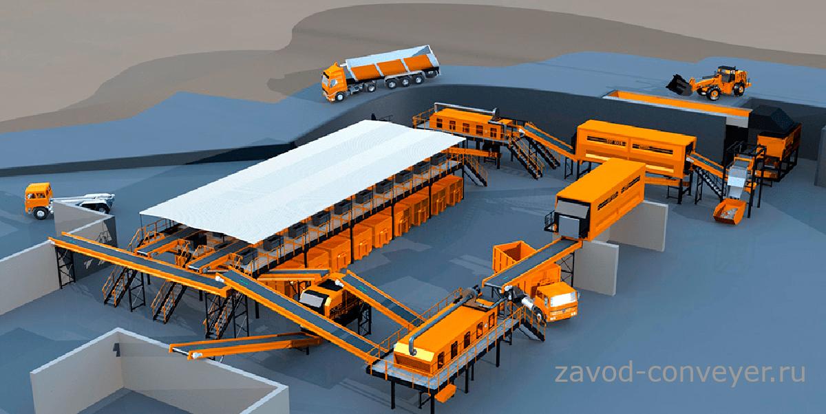 конвейеры в мусороперерабатывающих комплексах для сортировки бытовых отходов