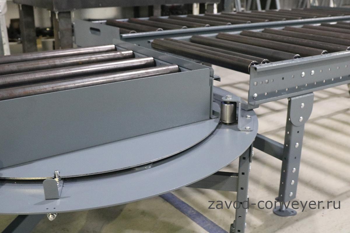 Конвейерная линия с рольгангами и поворотными роликовыми столами
