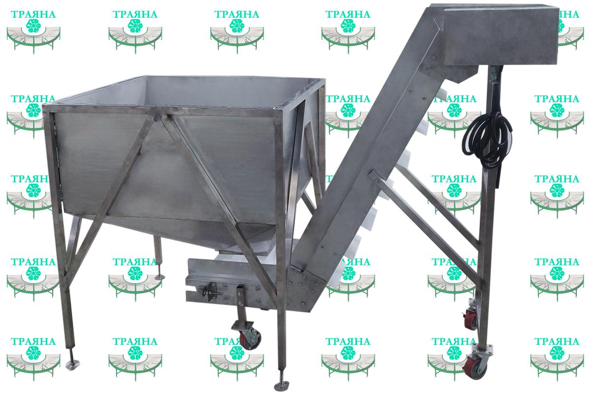 Z-образный конвейер -транспортёр на модульной ленте для линии переработки птицы