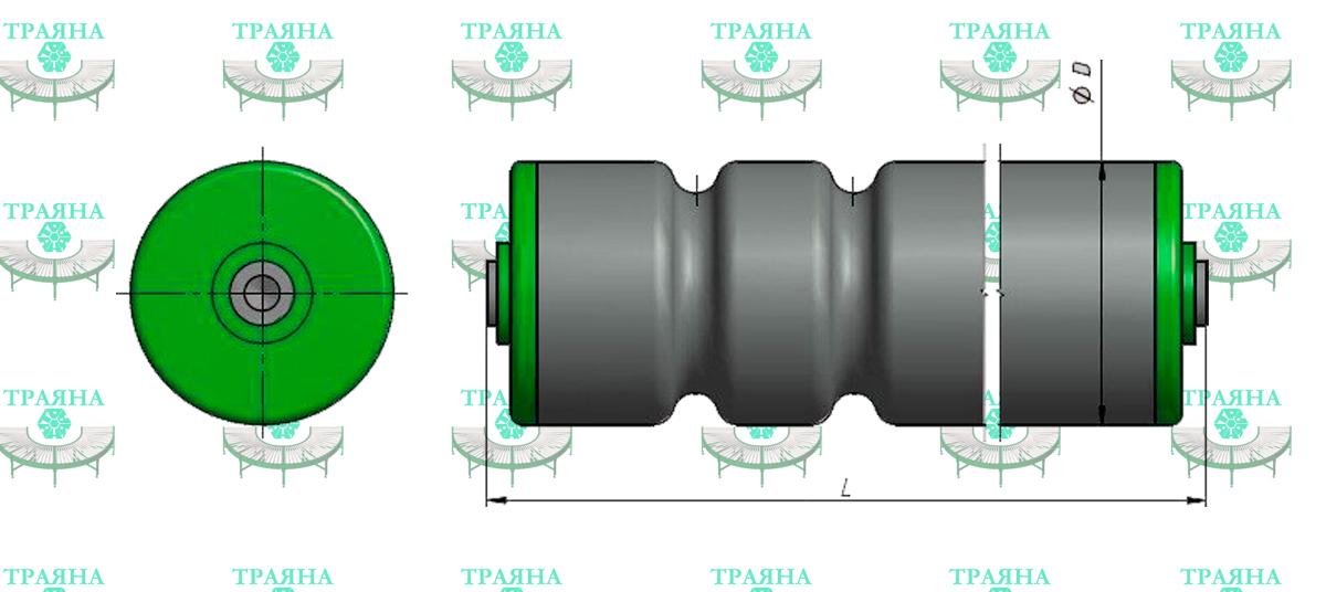 Приводной конвейерный ролик с двойной накаткой